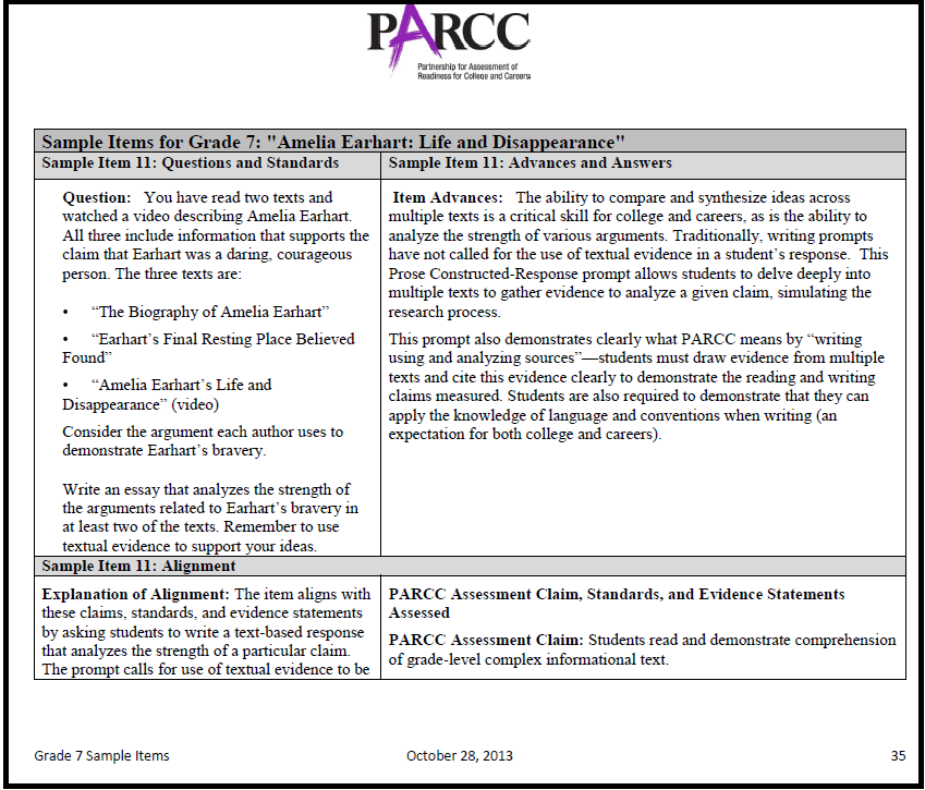 An Argument With Parcc Assessment Rationales