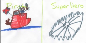 With little prompting, Harry went straight to work drawing the differing qualities of the main characters.